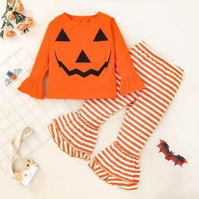 2-piece Toddler Girl Halloween Pumpkin Print Bell sleeves Top and Striped Flared Pants Set