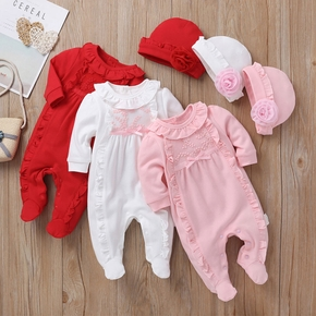 100% Cotton Solid Ruffle and Bowknot Decor Footie Baby Set