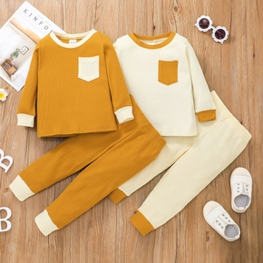 2-piece Toddler Girl/Boy Colorblock Ribbed Knit Long-sleeve Top with Pocket and Elasticized Pants Set