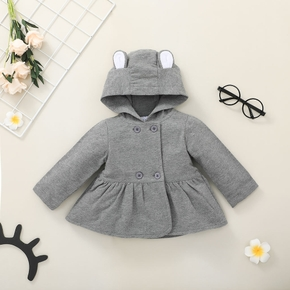 Solid Grey 3D Ear Double Breasted Long Sleeve Baby Coat Outwear