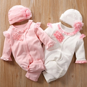 100% Cotton 2pcs Solid Ruffle and Lace Decor Long-sleeve Baby Set