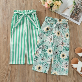 Toddler Girl Casual Floral Stripe Print Pants