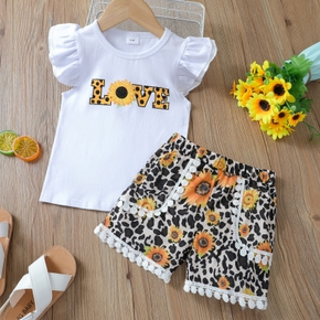 2-piece Baby / Toddler Girl Letter Print Sunflower Tee and Shorts Set