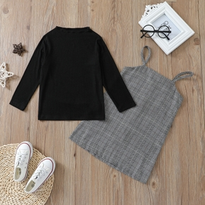 2-piece Toddler Girl Stand Collar Ribbed Long-sleeve Black Top and Plaid Strap Dress