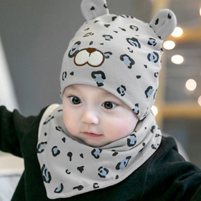 2-piece Baby Leopard Hat and Bib Set