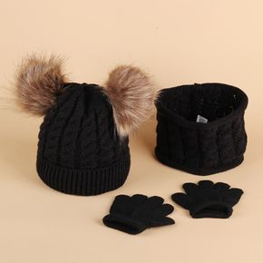 3-pack Baby / Toddler Pompon Knitted Hat and Scarf and Glove set
