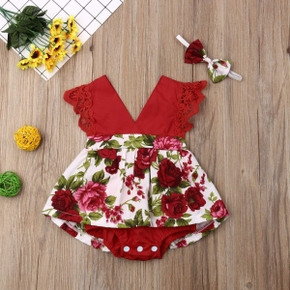 2pcs Floral Allover Sleeveless Red Baby Set