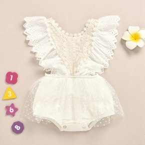 Polka Dots Print Lace and Mesh Decor Flutter-sleeve White Baby Romper