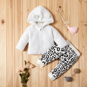 Baby Adorable Fleece Coat and Leopard Print Pants Set