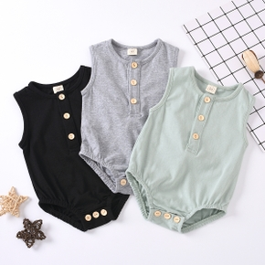 Baby Solid Front Button Sleeveless Romper