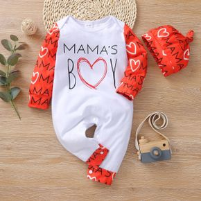 2-piece Baby MAMA'S BOY Letter Jumpsuit with Headband Set