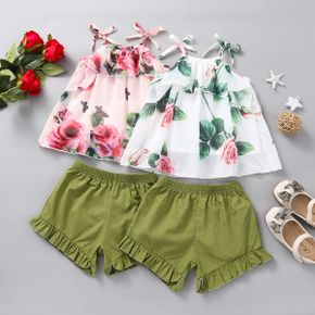 2pcs Baby Girl Sleeveless Floral Print Polyester & Cotton Baby's Sets