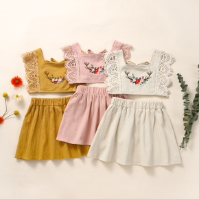 2pcs Baby Girl Boho Flutter-sleeve Embroidery Cute Summer Cotton Solid Dress