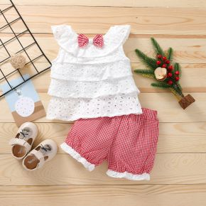 2pcs Plaid Print Flutter-sleeve Baby Sets