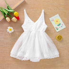Solid Lace Decor Mesh Layered Sleeveless Baby Romper