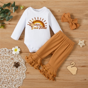 3pcs Letter Print Romper and Flare Pants Baby Set