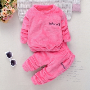 2pcs Solid Embroidery Decor Long-sleeve Baby Set