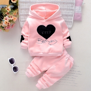 2pcs Baby Girl Sweet Heart-shaped Baby's Sets Hooded Warm Autumn Winter Long Sleeve Infant Clothing Outfits
