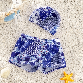 2-piece Baby / Toddler Boy Stylish Floral Print Trunk and Hat Swimsuit Set