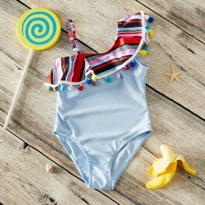 Toddler Girl Stylish Colorblock Pompon Decor One-piece Swimsuit