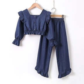 2-piece Kid Girl Square Neck Ruffled Long-sleeve Denim Blouse and Elasticized Jeans Casual Set