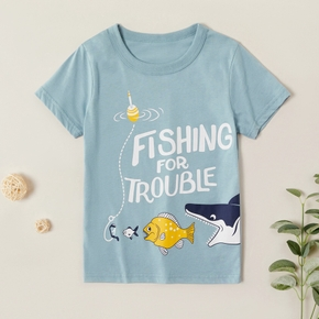 Kids Boy Shark Letter Print Tee