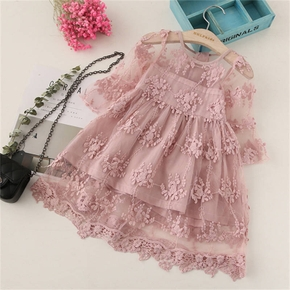 Baby / Toddler Girl Pretty Solid Floral Lace Decor Long-sleeve Dresses