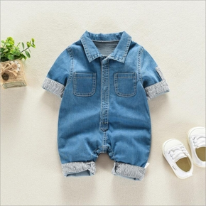 Baby Boy Striped Polo Collar Denim Jumpsuit