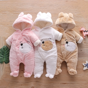 Baby Bear Warm Fleece Hooded Jumpsuit