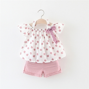 2-piece Toddler Girls Fruit Print Bow Top and Shorts Set