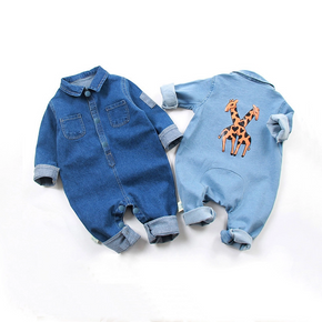 Baby Boy / Girl Casual Giraffe Print Denim Bodysuit (The Deep One No Giraffe Print!)