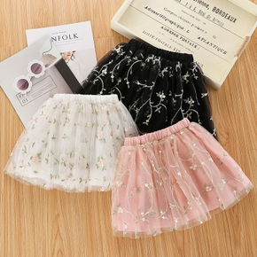 Baby / Toddler Girl Embroidered Floral Mesh Skirt