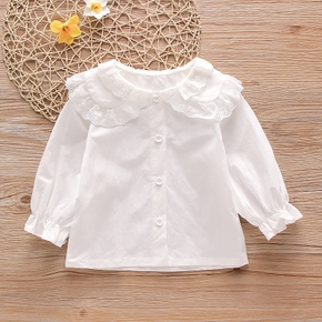 Baby / Toddler Girl Lace Collar Solid Shirt