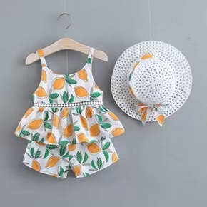 3-piece Toddler Girl Fruit Lemon Top and Shorts Set with Hat