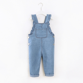 Toddler Girl Ruffled Denim Suspender Overalls