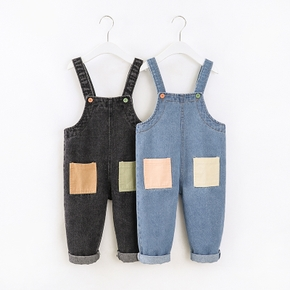 Baby / Toddler Casual Denim Pocket Overalls