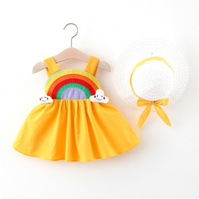 2-piece Toddler Casual Cutie Rainbow Dress and Straw Hat Set