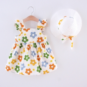 2-piece Toddler Girl Floral Ruffled Dress with Hat