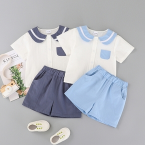 2pcs Toddler Boy Cotton Short-sleeve Shorts Suit school Toddler's Sets