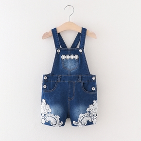 Baby / Toddler Girl Lace Denim Overalls