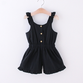 Toddler Girl Casual Solid Ruffled Jumpsuit