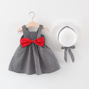 2-piece Baby / Toddler Girl Plaid Bowknot Dress and Hat Set