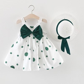 2-piece Baby / Toddler Girl Dots Bowknot Dress and Hat Set