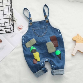 Baby/Toddler Print Denim Overalls Jumpsuit