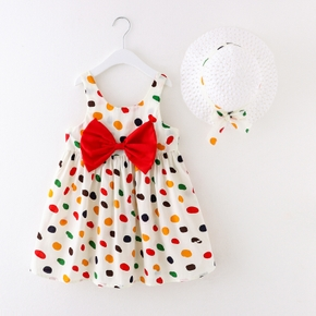 2-piece Toddler Girl Polka dots Bowknot Dress and Hat Set