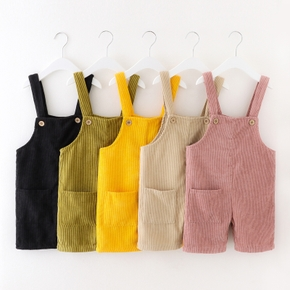 Toddler Fashionable Solid Overalls with Pocket