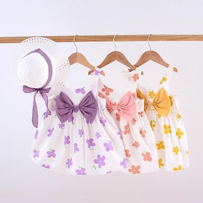 Toddler Girl Bowknot Floral Dress With Hat