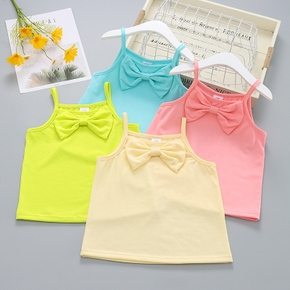 Toddler Girl Solid Basic Bowknot Camisole