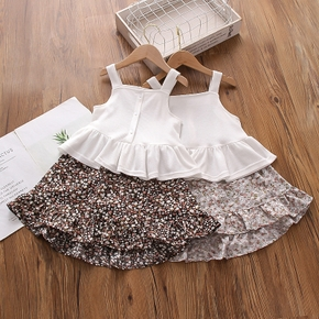 2-piece Toddler Girl Solid Ruffled Tank Top and Floral Print Skirt
