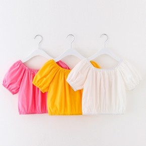 Toddler Girl Square Neck Puff-sleeve Shirt